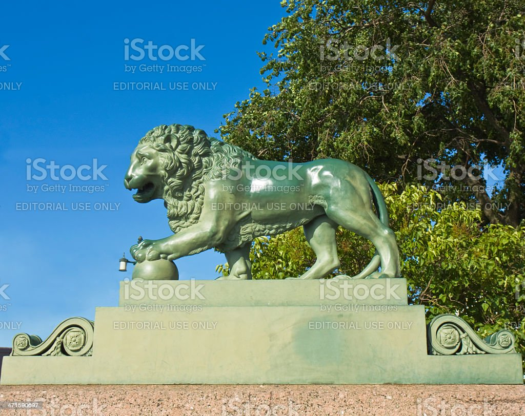 St. Petersburg, sculpture of lion royalty-free stock photo
