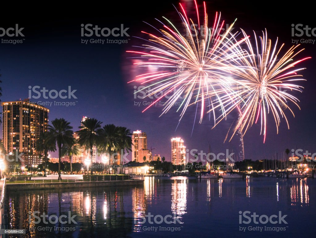 st petersburg skyline with fireworks in florida stock photo