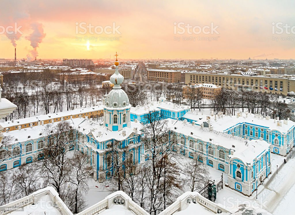 St. Petersburg Smolny Cathedral winter cityscape, Russia stock photo
