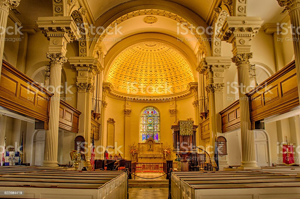 St. Philip's Episcopal Church interior Charleston SC stock photo