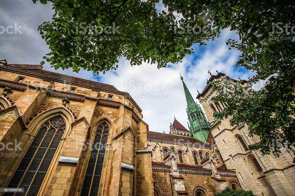 St. Pierre Cathedral, Geneva Switzerland stock photo