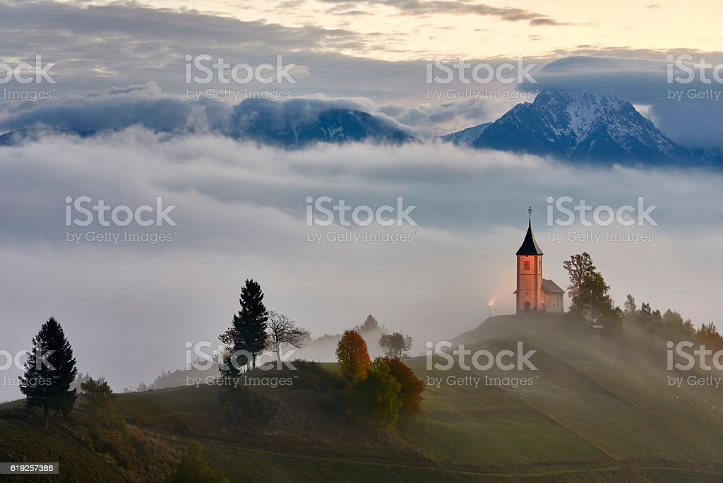 St. Primoz church near Jamnik, Slovenia stock photo