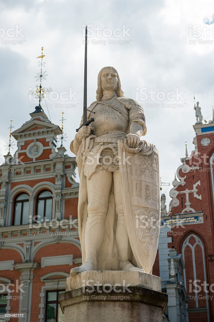 St. Roland statue in Riga, Latvia stock photo