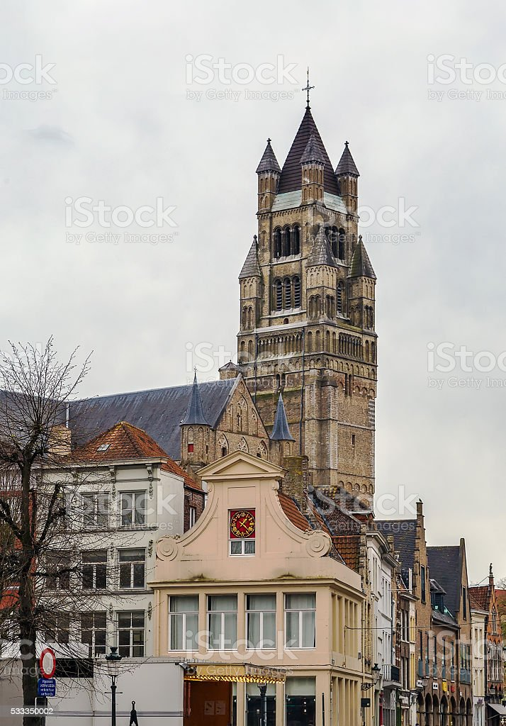 St. Salvator Cathedral, Bruges, Belgium stock photo
