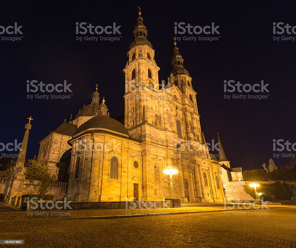 st salvator dom in fulda germany at night stock photo