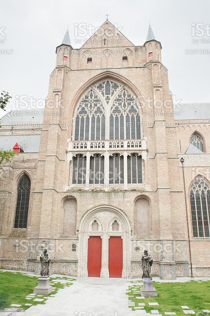 St. Salvator's Cathedral facade stock photo
