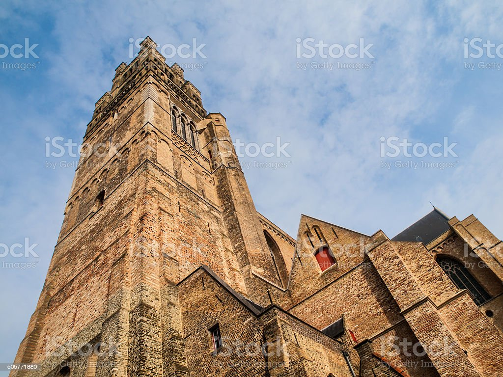 St. Salvator's Cathedral in belgian Bruges stock photo