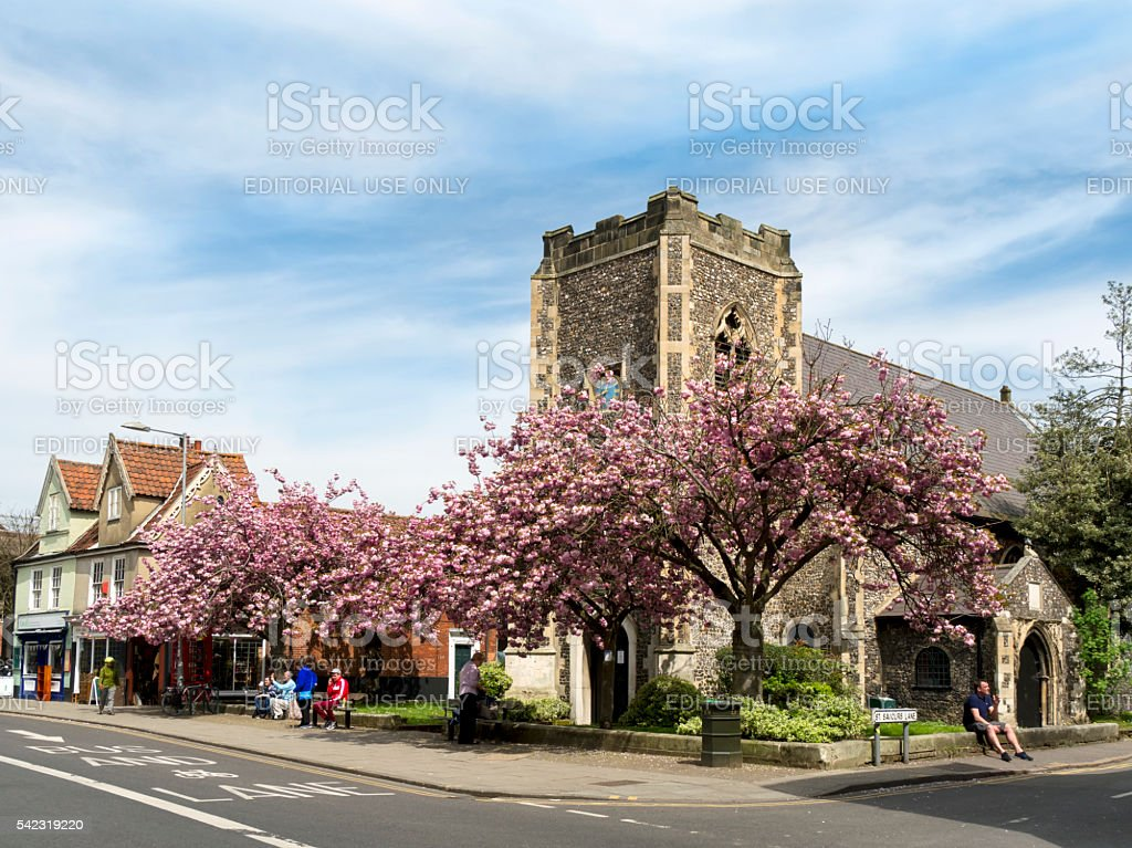 St Saviour's Church and Magdalen Street, Norwich stock photo