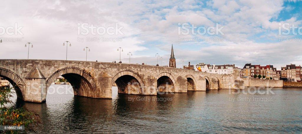 St. Servaas bridge in Maastricht, Netherlands stock photo