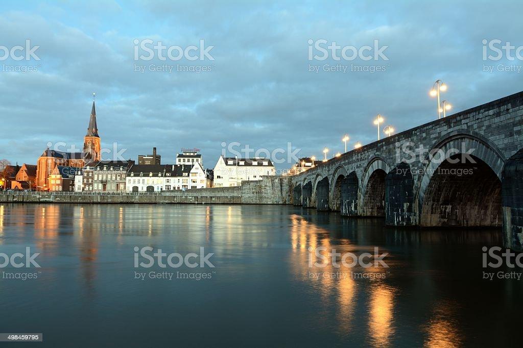 St. Servatius Bridge at Maastricht stock photo