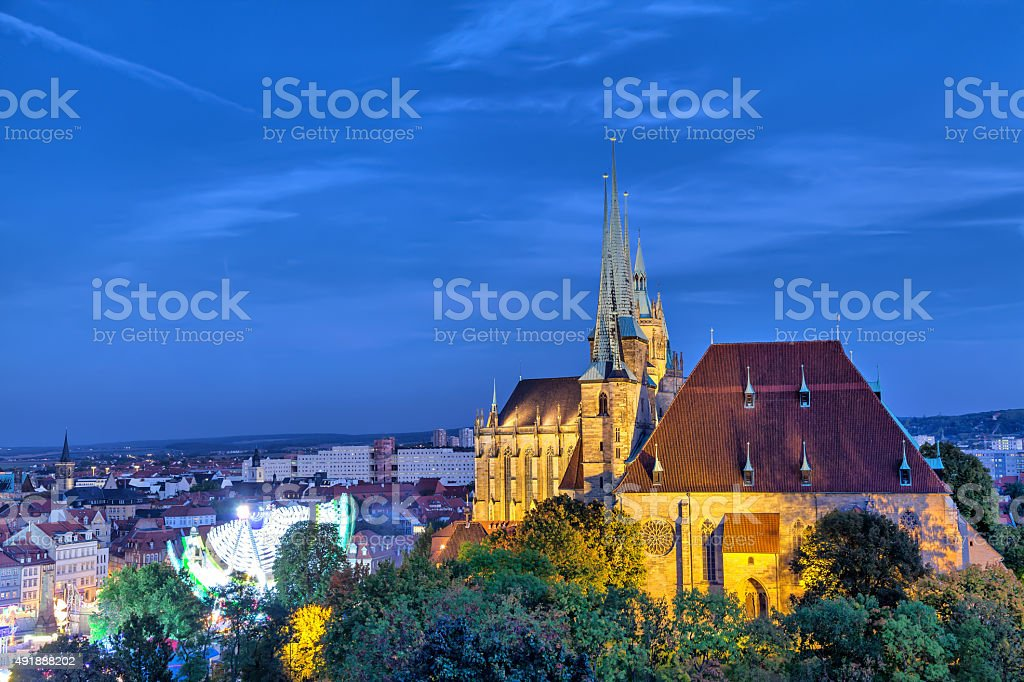 St Severus Church in the evening, Erfurt stock photo