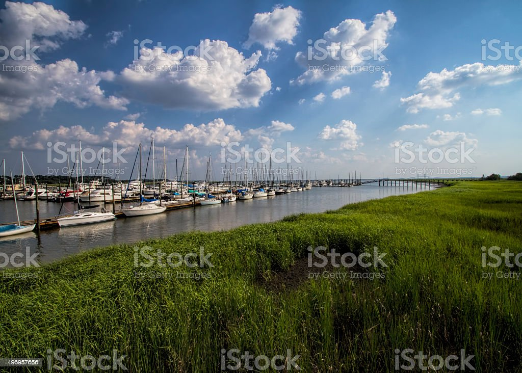 St Simon's Island Grasslands and Marina stock photo
