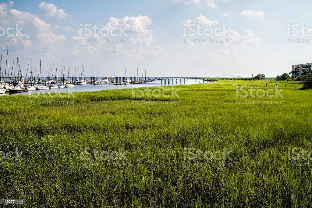 St Simon's Island Grasslands and Sailboats stock photo