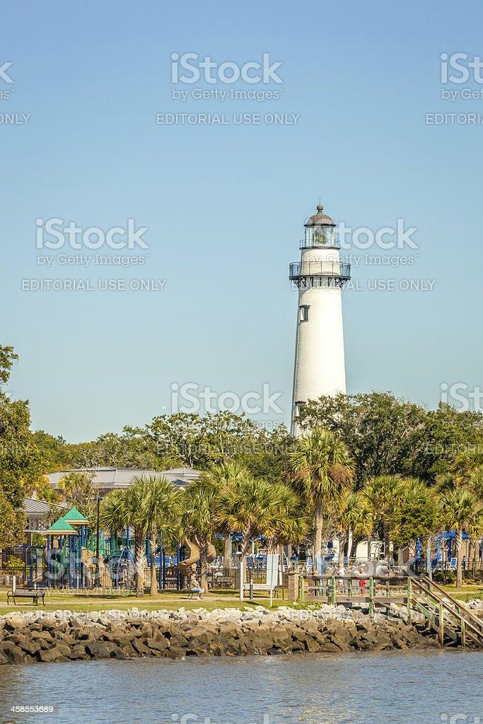 St. Simons Island Lighthouse and Playground II stock photo