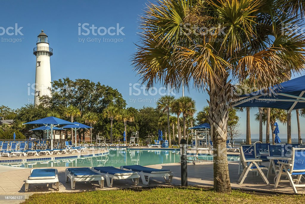 St. Simons Lighthouse and Pool stock photo