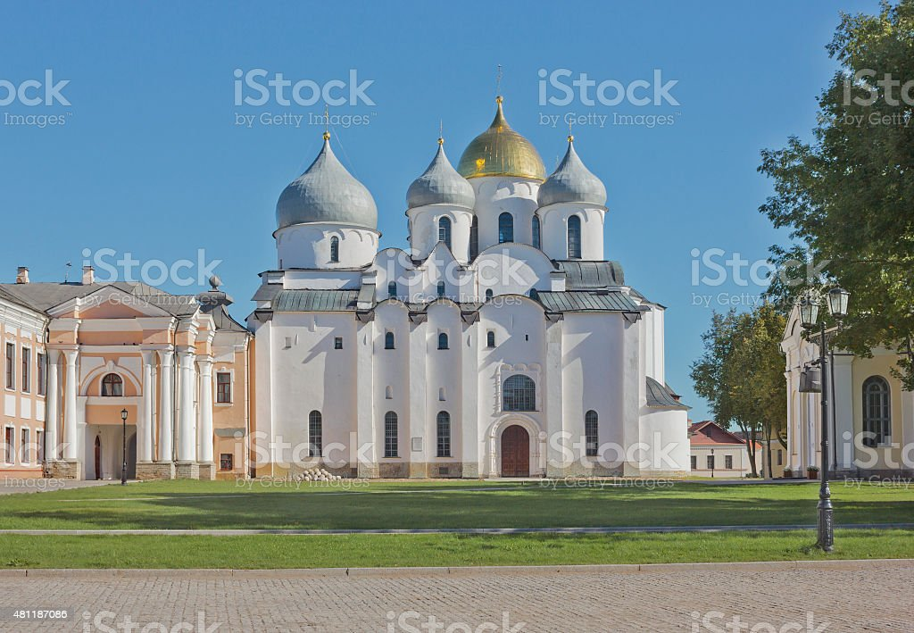 St. Sophia Cathedral in Veliky Novgorod, Russia stock photo