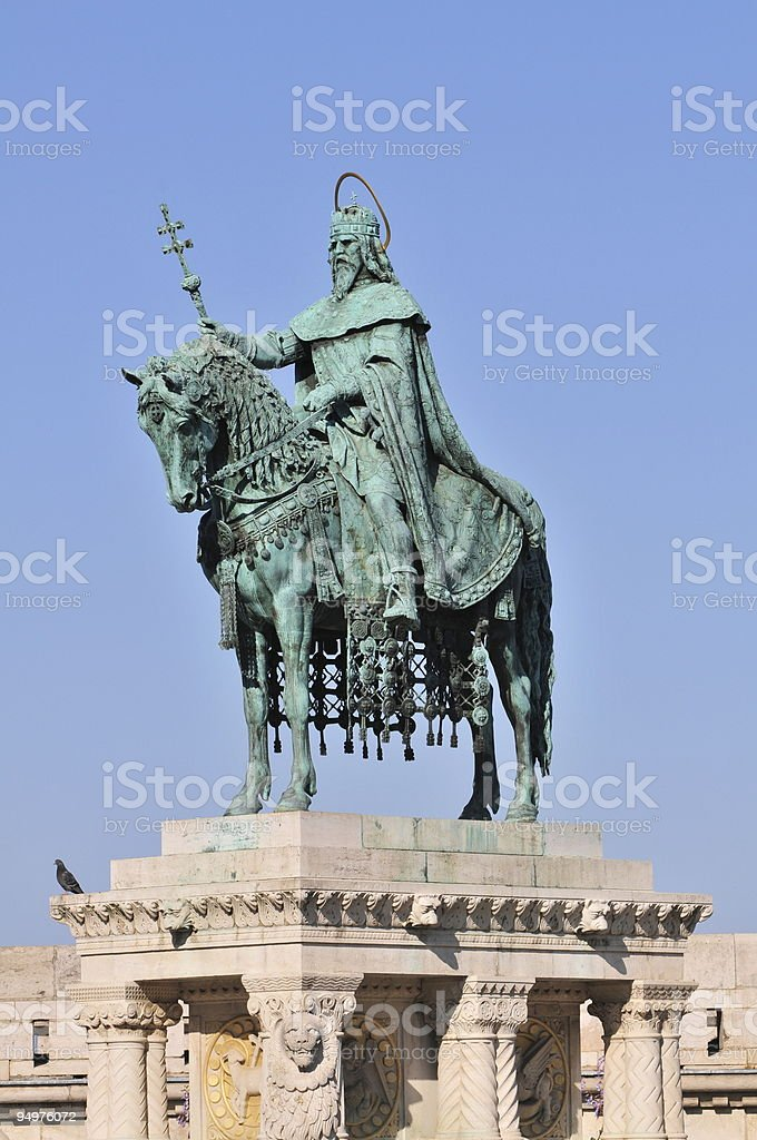St. Stephen statue in Budapest stock photo