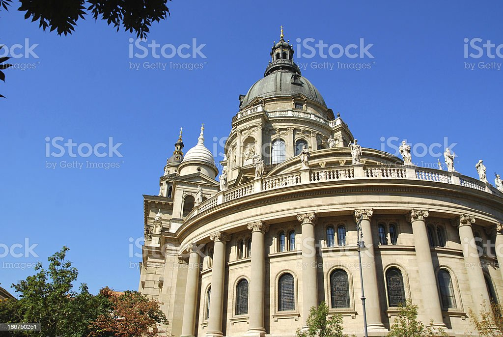 St. Stephen's Basilica in the city of Budapest. stock photo