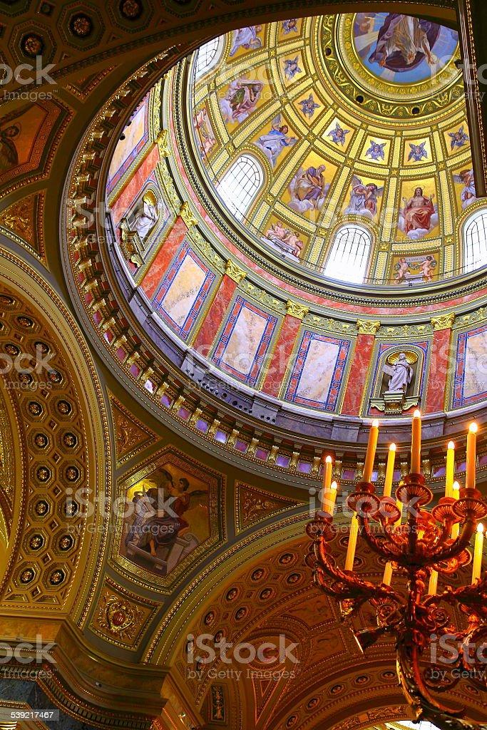 St. Stephen's Basilica inside cupola - Budapest, Hungary stock photo