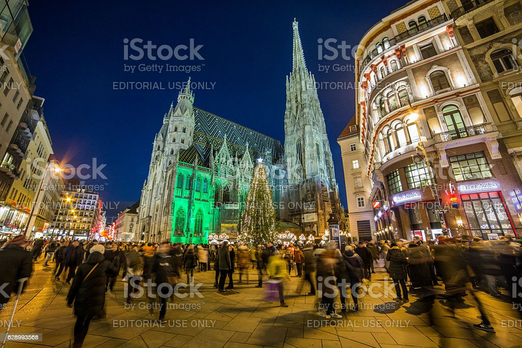 St Stephen's Cathedral at Christmas stock photo