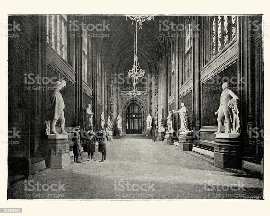 St Stephen's Hall Houses of Parliament, London, 1896 stock photo