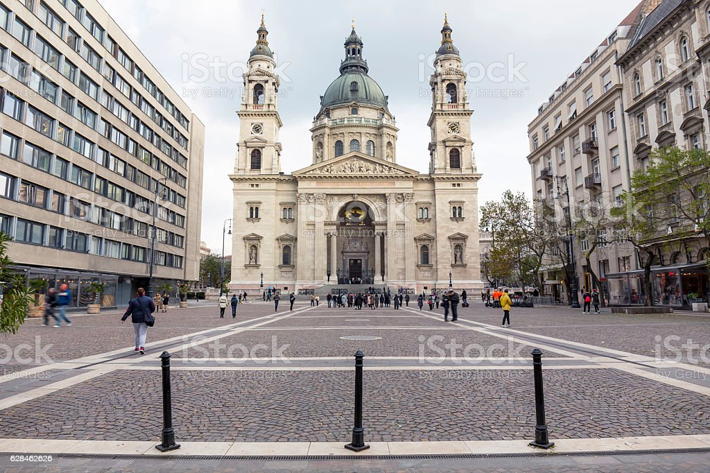 St Stephen's Square and Basilica in Budapest stock photo
