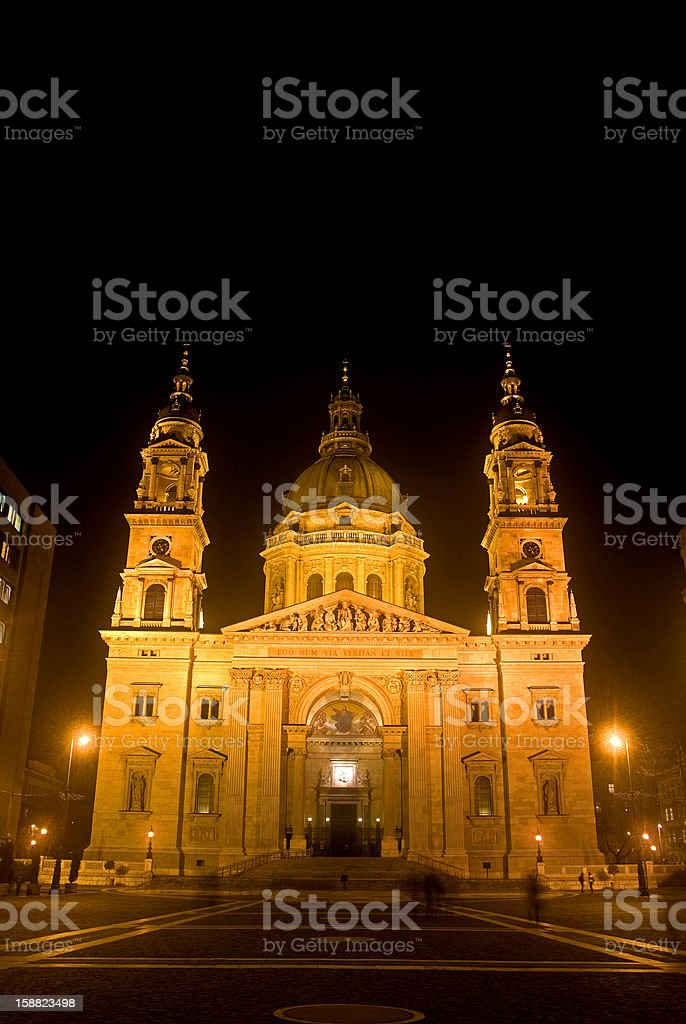 St. Steven Cathedral by night, Budapest, Hungary royalty-free stock photo