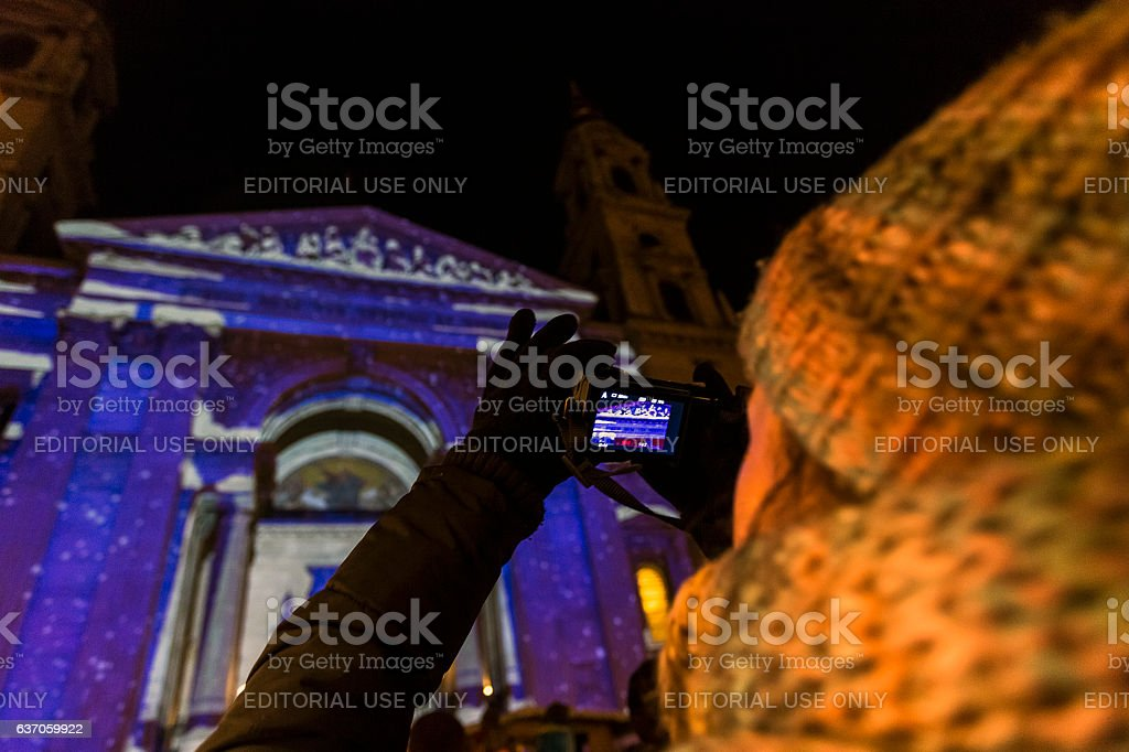 St. Steven Cathedral in Xmas stock photo