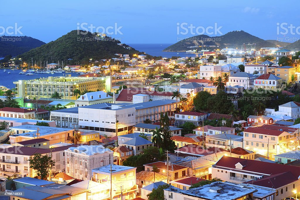 St Thomas mountain view in early morning stock photo