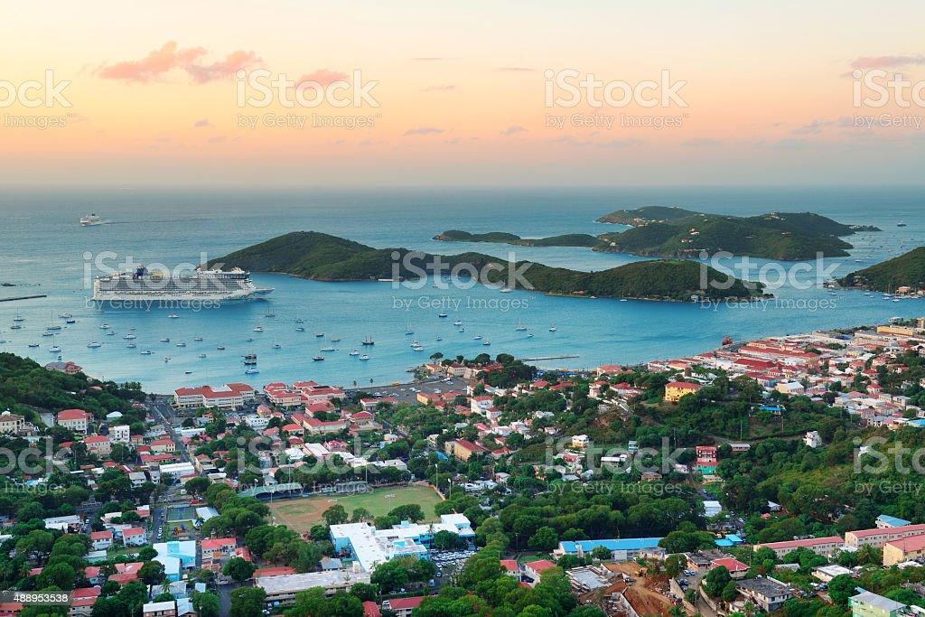 St Thomas sunrise stock photo