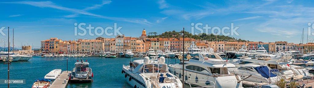 St Tropez Harbour Panorama stock photo