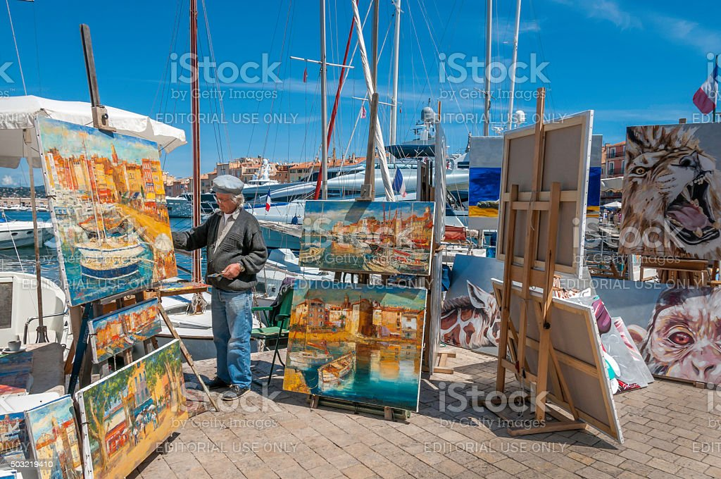 St Tropez Street Artist stock photo