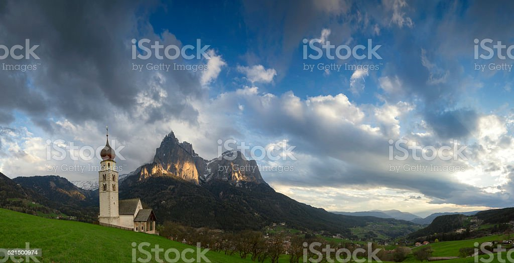 St. Valentin with Schlern in background, Seis, South Tyrol stock photo