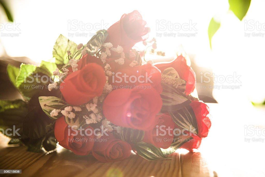 st. valentine bouquet of flowers concept stock photo