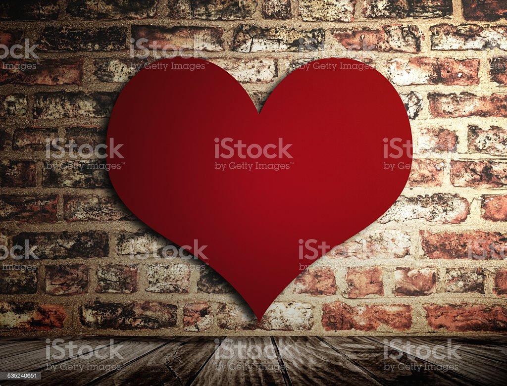 st. valentine brick wall stock photo