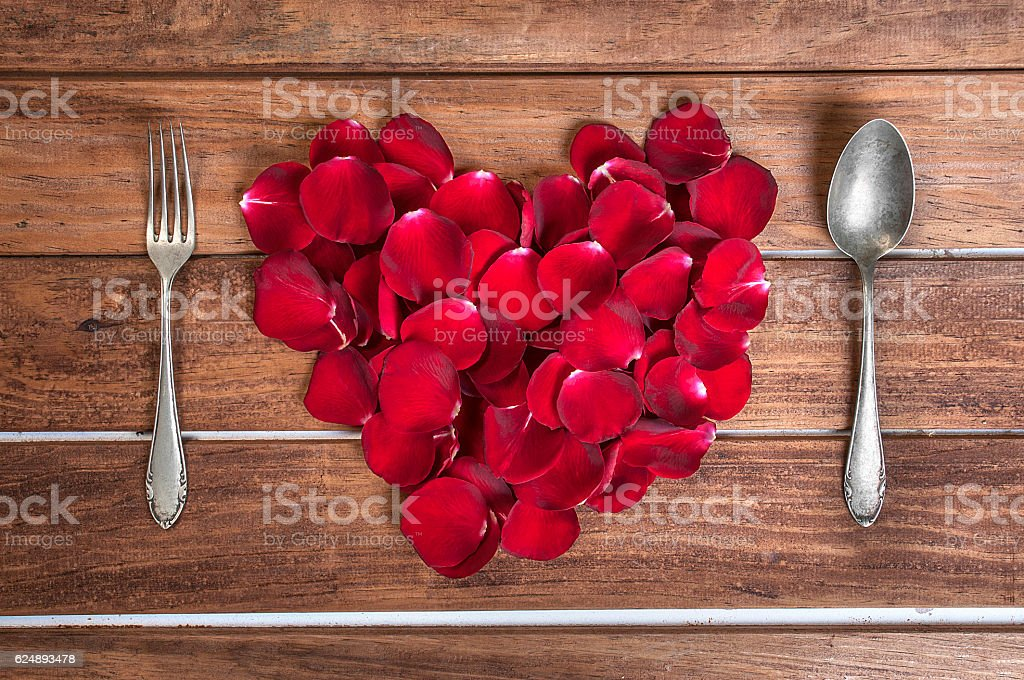 St. Valentine's festival table set stock photo