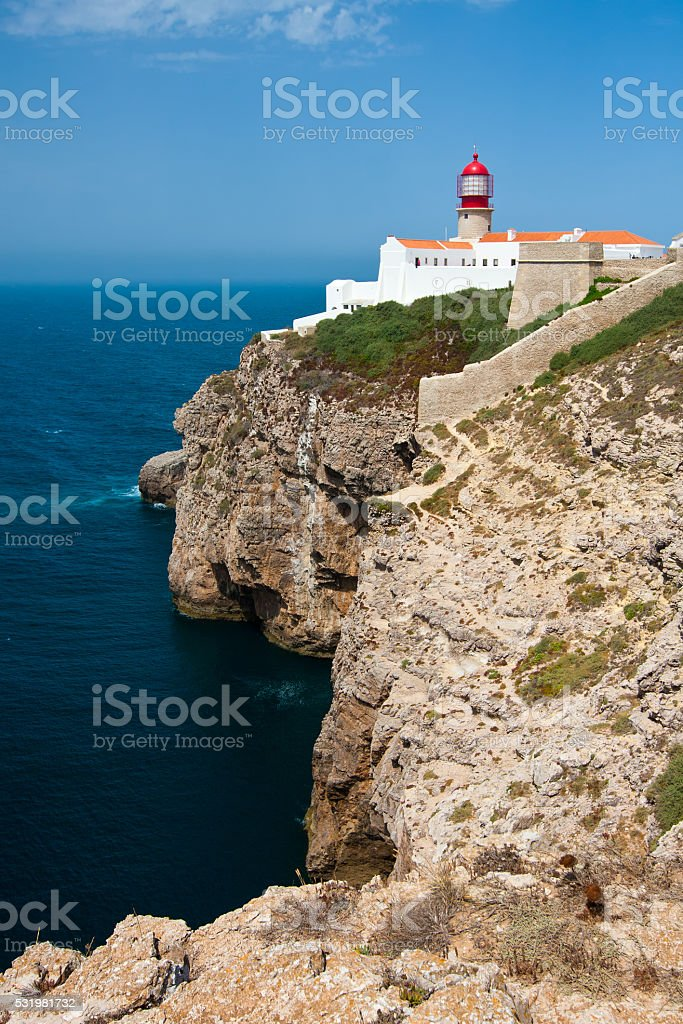 St. Vincent Cape and lighthouse, Algarve, Portugal. stock photo