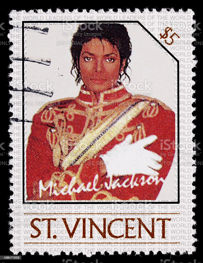 St Vincent Michael Jackson postage stamp stock photo