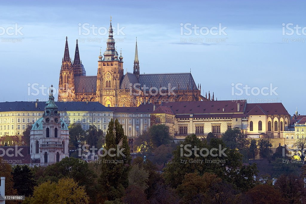 St. Vitus Cathedral at Dusk, Prague royalty-free stock photo