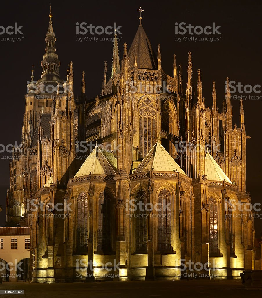St. Vitus Cathedral At Night royalty-free stock photo