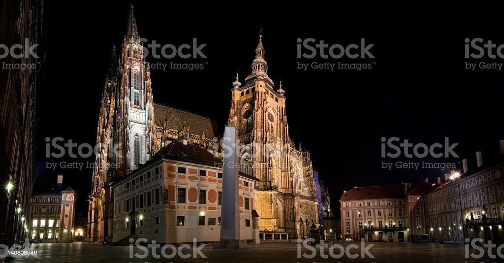 St. Vitus Cathedral at night, Prague, Czech Republic royalty-free stock photo