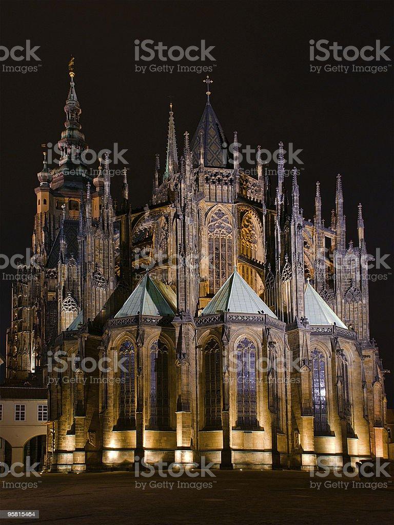 St. Vitus Cathedral at night, Prague, Czech Republic stock photo
