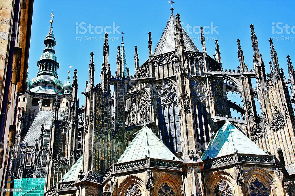 St. Vitus Cathedral at Prague Castle, Prague, Czech Republic, Bohemia stock photo