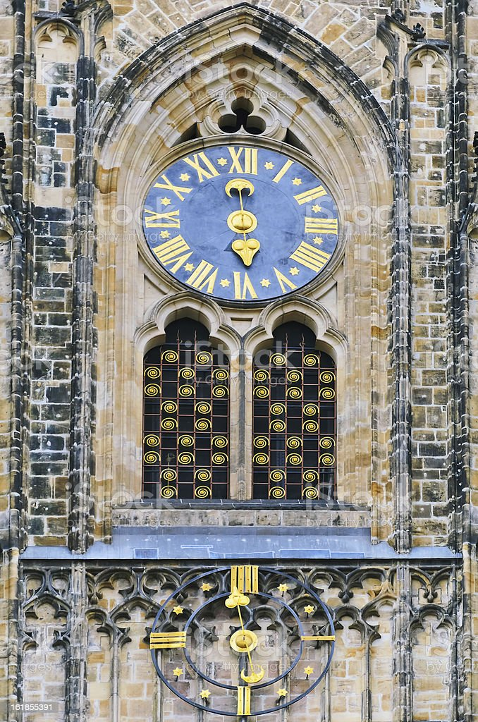 St. Vitus Cathedral Clock royalty-free stock photo