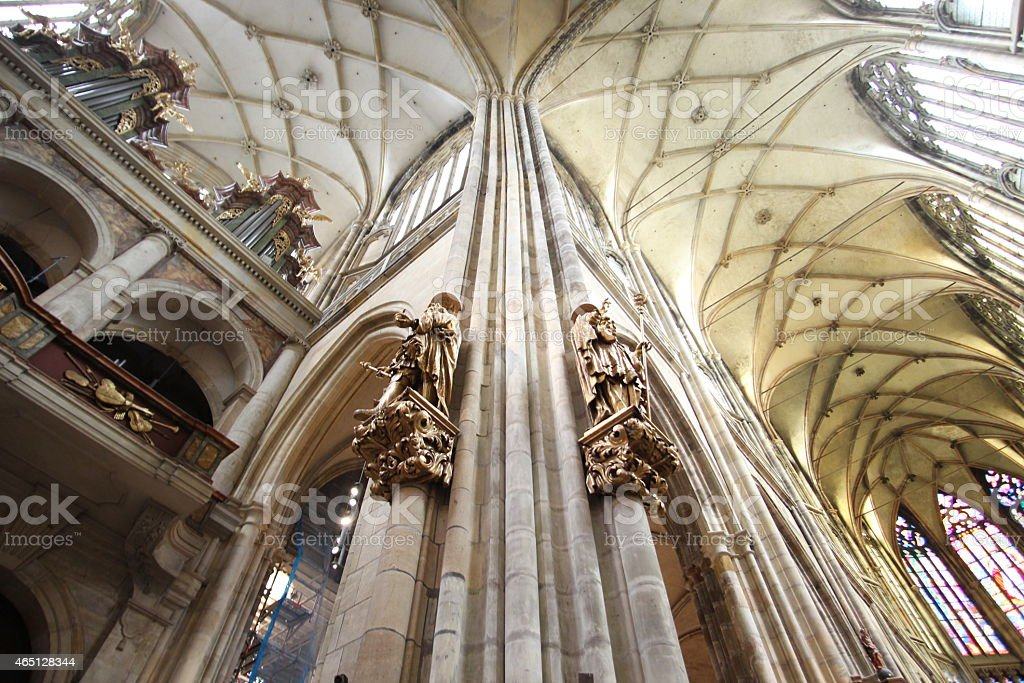 St, Vitus Cathedral high ceiling stock photo
