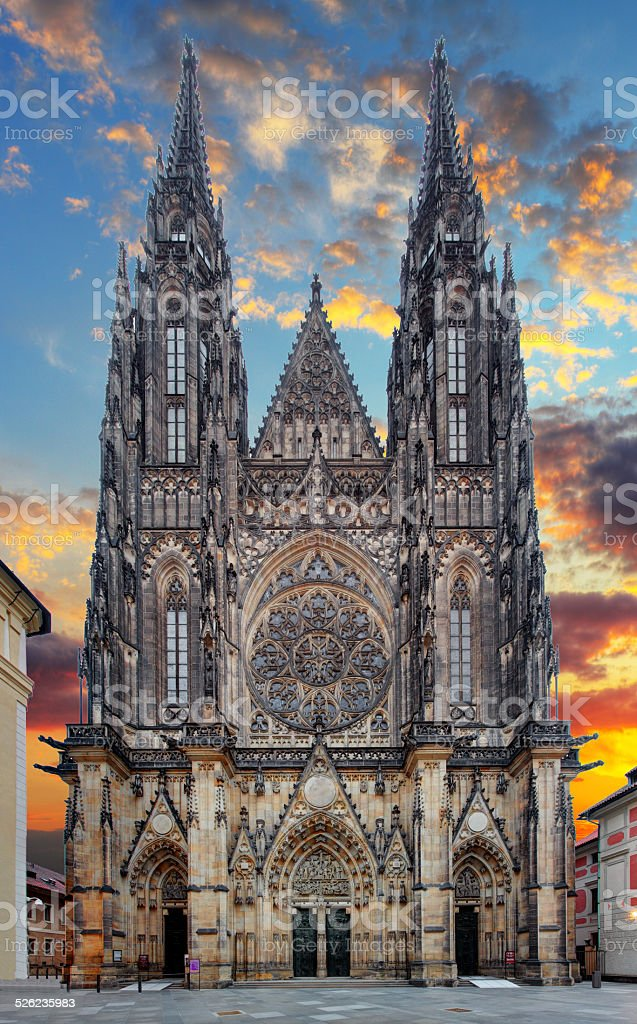 St. Vitus cathedral in Prague Castle in Prague stock photo