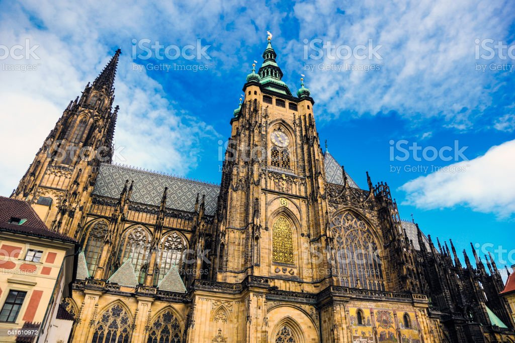 St. Vitus cathedral Prague stock photo