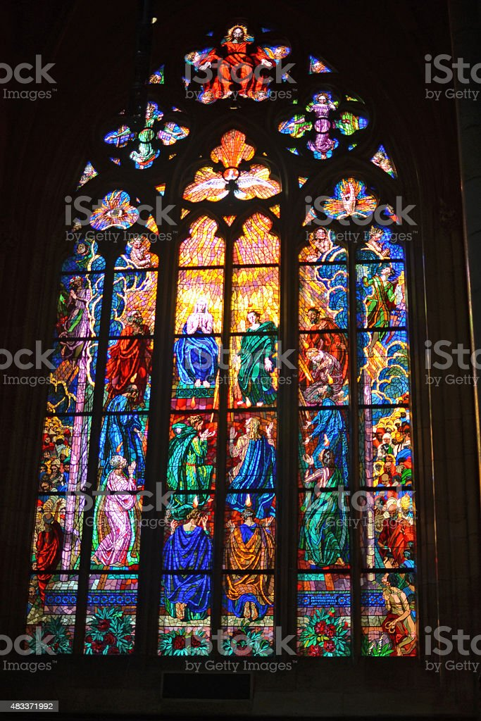 St Vitus Cathedral Stained Glass Window stock photo