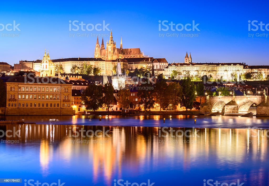 St Vitus's Cathedral and Charles bridge in Prague at Sunset stock photo