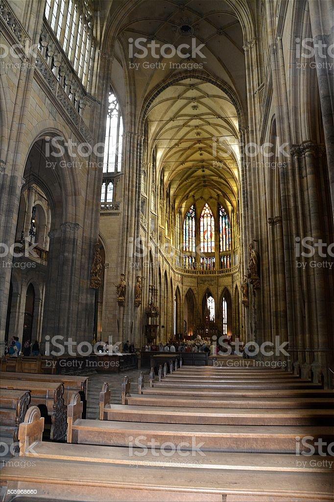 St. Vitus's Cathedral indoors, Prague stock photo